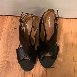 Coach Black leather wedges with Navy leather trim